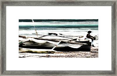 Framed Print featuring the digital art Trimarano by Andrea Barbieri