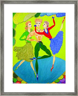 Framed Print featuring the painting Trio Water-dancers  by Marie Schwarzer