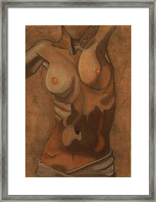 Triple Conte Torso Drawing Framed Print by Teri Schuster