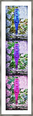 Triptych Cobalt Blue Purple And Magenta Bottles Triptych Vertical Framed Print by Andee Design