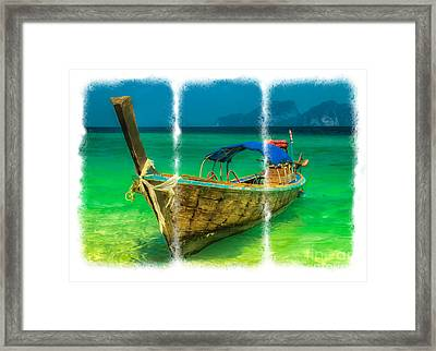 Triptych Longboat Framed Print by Adrian Evans