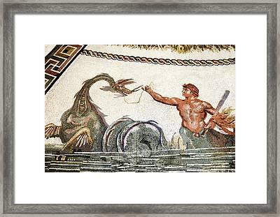 Triton And A Sea Creature, Roman Mosaic Framed Print by Sheila Terry