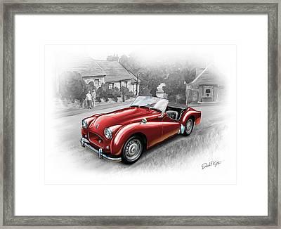 Triumph Tr-2 Sports Car In Red Framed Print by David Kyte