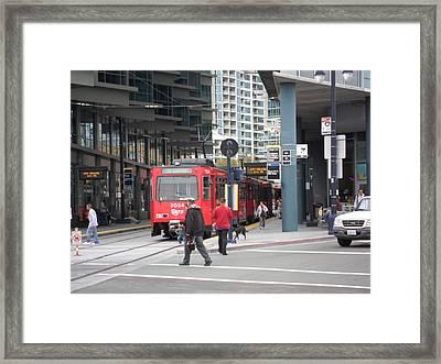 Trolley In San Diego Framed Print by Val Oconnor