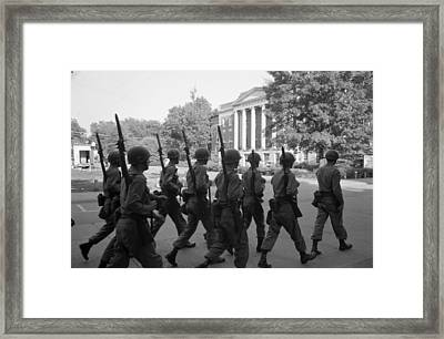 Troops At The University Of Alabama Framed Print by Everett