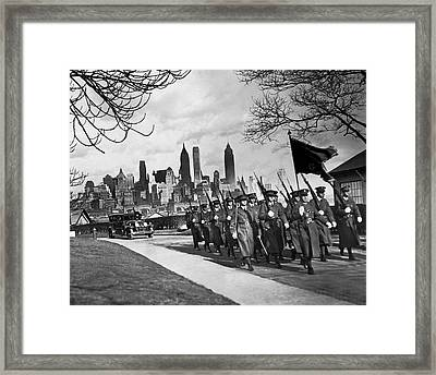 Troops On Governors Island Framed Print