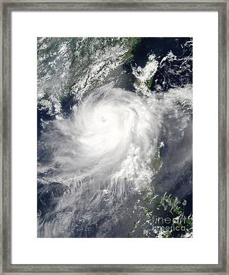 Tropical Cyclone Linfa Framed Print by Stocktrek Images