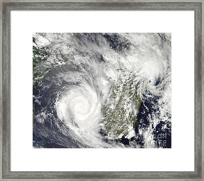 Tropical Cyclones Eric And Fanele Framed Print by Stocktrek Images
