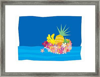 Tropical Flowers With Fruits On Waves Framed Print by Meg Takamura