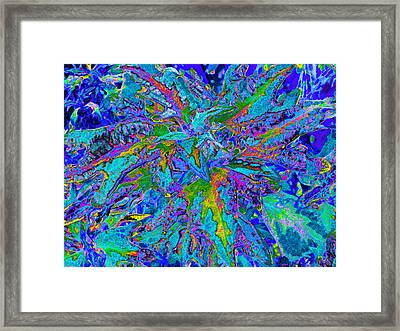 Framed Print featuring the digital art Tropical Foliage - Blues - Digital Artwork by Kerri Ligatich