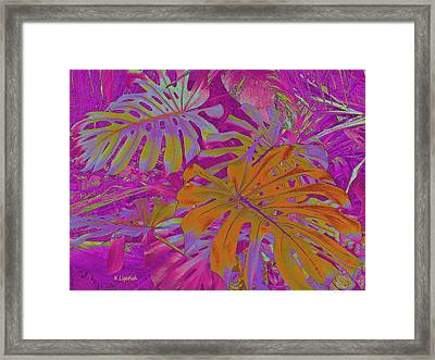 Framed Print featuring the digital art Tropical Foliage - Pink by Kerri Ligatich