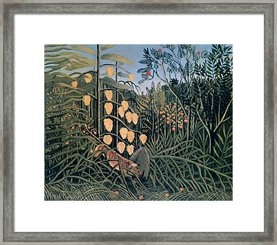 'tropical Forest' By Henri Rousseau Framed Print