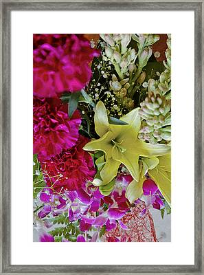 Tropical Fowers Arrangement Framed Print by Kantilal Patel
