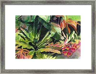 Framed Print featuring the painting Tropical Garden by Richard Willows
