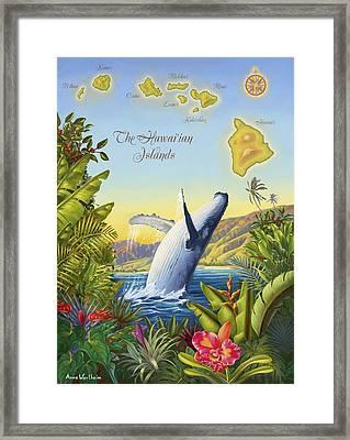Tropical Hawaiian Island Map Framed Print by Anne Wertheim