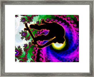 Tropical Hurricane Eye With Skateboarder Framed Print by Elaine Plesser