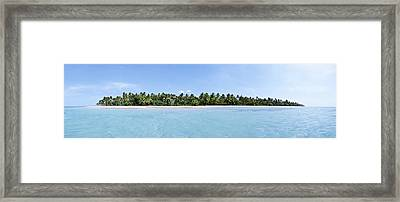 Tropical Island Floating Over Turquoise Water Framed Print