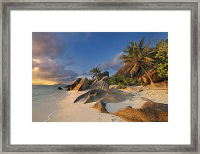 Tropical Island La Digue Framed Print by Cornelia Doerr