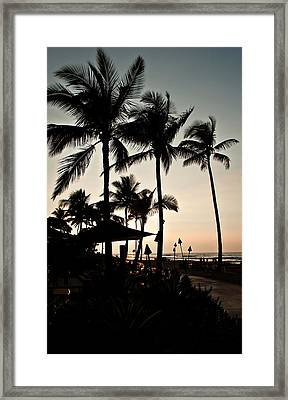 Tropical Island Silhouette Beach Sunset Framed Print by Valerie Garner