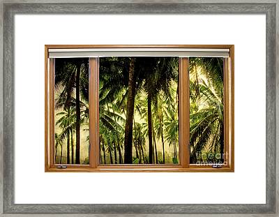 Tropical Jungle Paradise Window Scenic View Framed Print