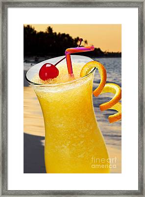 Tropical Orange Drink Framed Print by Elena Elisseeva
