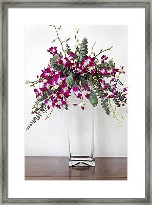 Tropical Pansies In A Square Vase Framed Print by Kantilal Patel