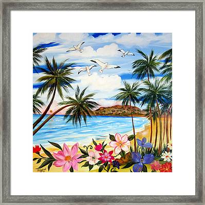 Framed Print featuring the painting Tropical Paradise by Roberto Gagliardi