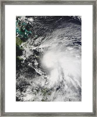 Tropical Storm Noel Over Haiti Framed Print by Stocktrek Images