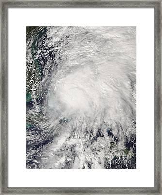 Tropical Storm Noel Over The Bahamas Framed Print by Stocktrek Images