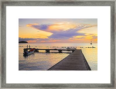 Framed Print featuring the photograph Tropical Sunset- 4- St Lucia by Chester Williams