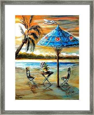 Framed Print featuring the painting Tropical Sunset by Bernadette Krupa