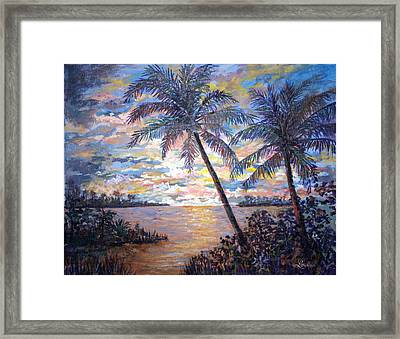 Framed Print featuring the painting Tropical Sunset by Lou Ann Bagnall