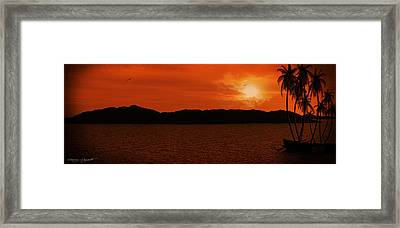 Tropical Sunset Framed Print by Lourry Legarde