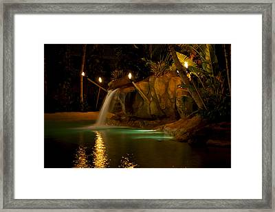 Tropical Waterfall Framed Print by Mike Horvath