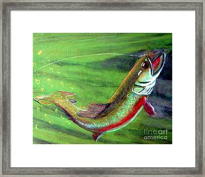 Trout On - Pastel Painting Framed Print by Merton Allen