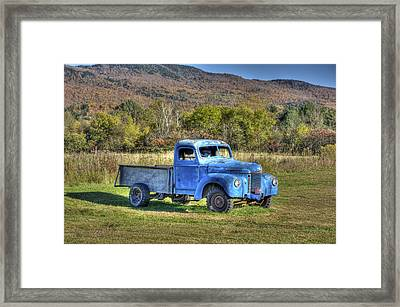 Truck In A Field Framed Print by Dennis Clark