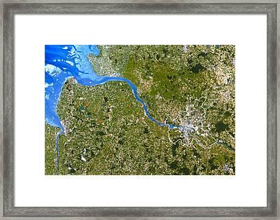 True-colour Satellite Image Of Hamburg, Germany Framed Print