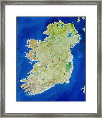 True-colour Satellite Image Of Ireland Framed Print by Planetobserver