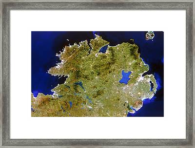 True-colour Satellite Image Of Ulster, Ireland Framed Print by Planetobserver