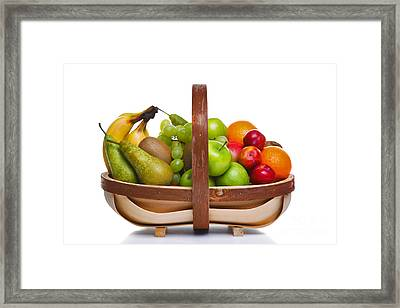 Trug Full Of Fresh Fruit Isolated On White Background. Framed Print by Richard Thomas