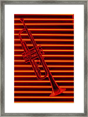 Trumpet And Red Neon Framed Print by Garry Gay