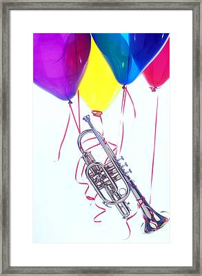 Trumpet Lifted By Balloons Framed Print by Garry Gay