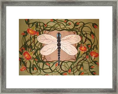 Trumpet Vine With Dragonfly Framed Print by Cindy Micklos