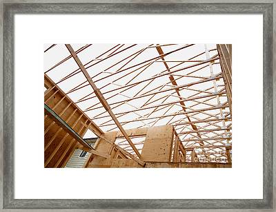 Trusses In Home Under Construction Framed Print by Inti St. Clair