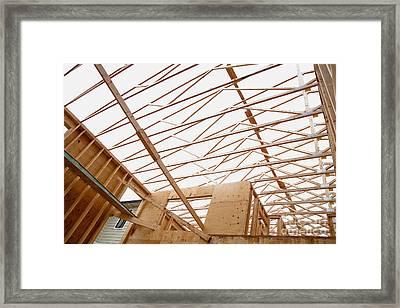 Trusses In Home Under Construction Framed Print