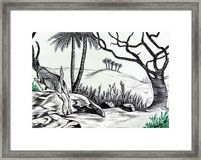 Trying To Hide Framed Print