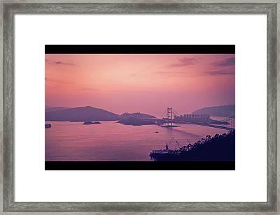 Tsing Ma Bridge In Hong Kong At Dusk Framed Print by Yiu Yu Hoi