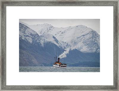 Tss Earnslaw Steamboat Against The Southern Alps Framed Print by Laurel Talabere