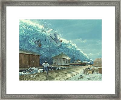 Tsunami Framed Print by Chris Butler and Photo Researchers