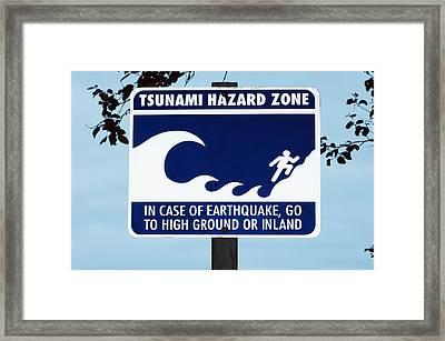 Tsunami Warning Sign Framed Print